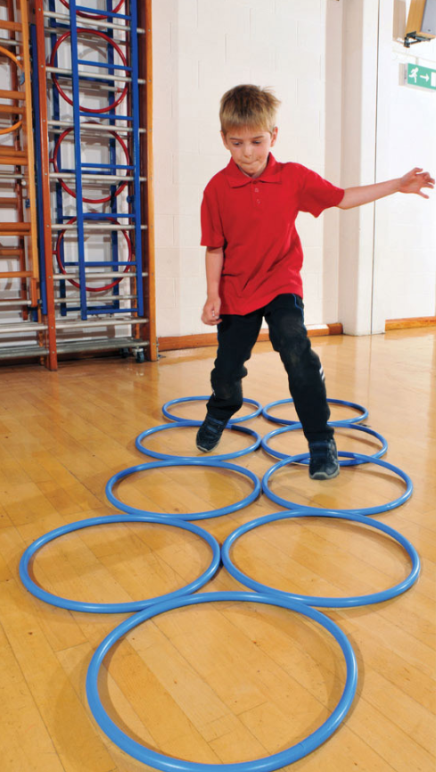 Boys running through hoola hoops in maths makes a great lesson.